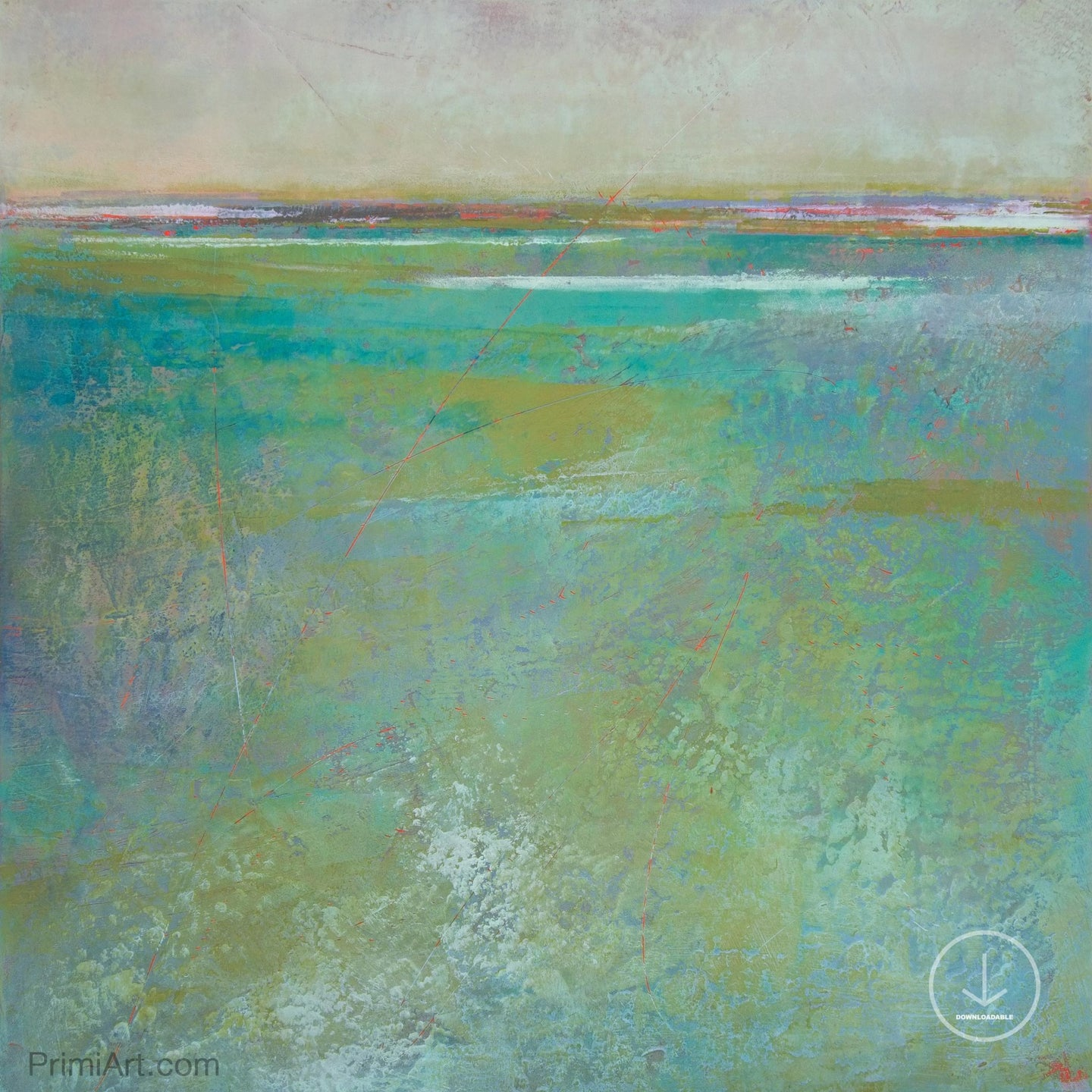 Teal green abstract beach painting