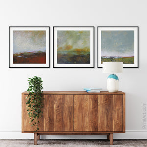 "Modern abstract beach wall art ""Tuesday's Tempest,"" printable art by Victoria Primicias, decorates the entryway."