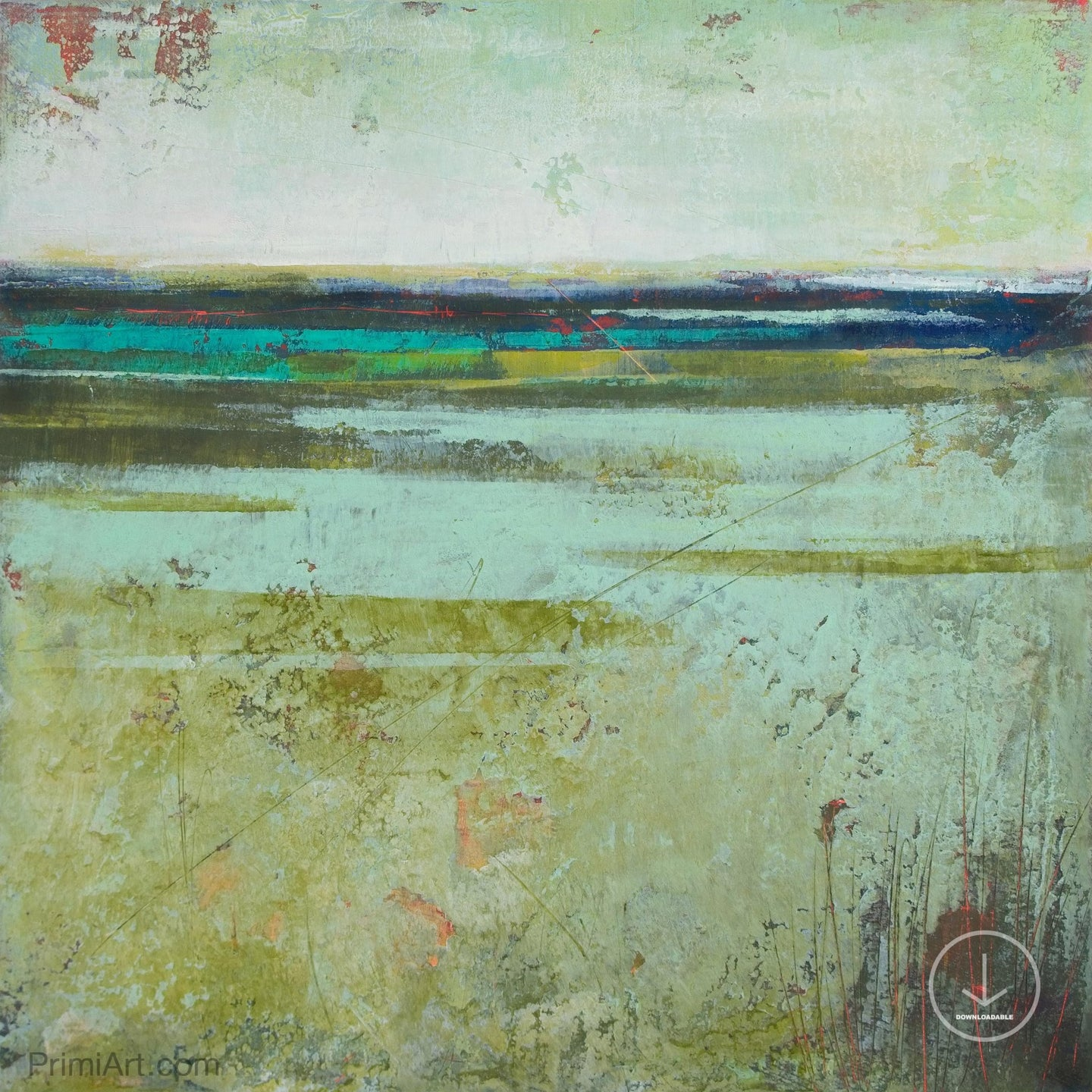 Square contemporary abstract landscape painting