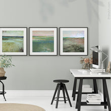 "Load image into Gallery viewer, Square contemporary abstract coastal wall art ""Tuscan Strands,"" printable wall art by Victoria Primicias, decorates the office."