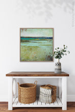 "Load image into Gallery viewer, Square contemporary abstract landscape painting ""Tuscan Strands,"" printable wall art by Victoria Primicias, decorates the entryway."