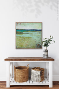 "Square contemporary abstract landscape painting ""Tuscan Strands,"" printable wall art by Victoria Primicias, decorates the entryway."