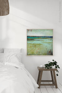 "Square contemporary abstract landscape painting ""Tuscan Strands,"" printable wall art by Victoria Primicias, decorates the bedroom."