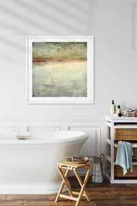 "Gray abstract seascape painting ""Tuscan Treasures,"" downloadable art by Victoria Primicias, decorates the bathroom."