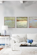 "Load image into Gallery viewer, Gray abstract beach art ""Tuscan Treasures,"" digital download by Victoria Primicias, decorates the living room."