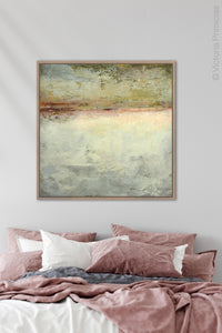 "Gray abstract ocean art ""Tuscan Treasures,"" downloadable art by Victoria Primicias, decorates the bedroom."
