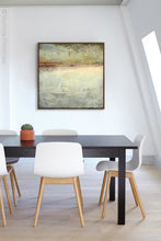 "Load image into Gallery viewer, Gray abstract beach art ""Tuscan Treasures,"" digital art landscape by Victoria Primicias, decorates the office."