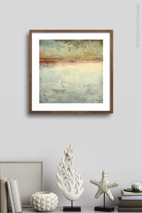 "Gray abstract ocean art ""Tuscan Treasures,"" digital print by Victoria Primicias, decorates the wall."