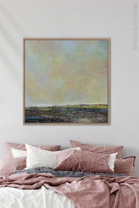 "Serene abstract landscape painting ""Twilight Blush,"" digital artwork by Victoria Primicias, decorates the bedroom."