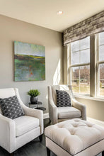 "Load image into Gallery viewer, Green abstract landscape art ""Verdant Excuse,"" downloadable art by Victoria Primicias, decorates the living room."