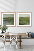 "Load image into Gallery viewer, Green landscape painting ""Verdant Excuse,"" downloadable art by Victoria Primicias, decorates the dining room."