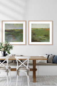 "Green landscape painting ""Verdant Excuse,"" downloadable art by Victoria Primicias, decorates the dining room."