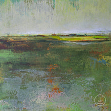 "Load image into Gallery viewer, Green abstract landscape painting ""Verdant Excuse,"" downloadable art by Victoria Primicias"
