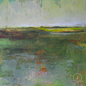 "Green abstract landscape painting ""Verdant Excuse,"" downloadable art by Victoria Primicias"
