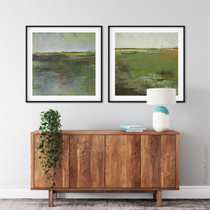 "Green abstract landscape art ""Verdant Excuse,"" downloadable art by Victoria Primicias, decorates the entryway."