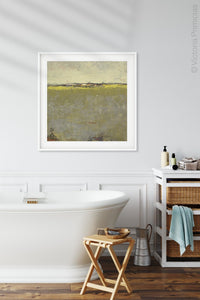 "Impressionist abstract landscape painting ""Vernal Passage,"" canvas art print by Victoria Primicias, decorates the bathroom."