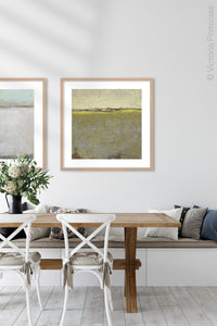 "Impressionist abstract beach painting ""Vernal Passage,"" metal print by Victoria Primicias, decorates the dining room."