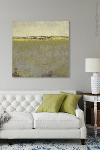 "Impressionist abstract landscape painting ""Vernal Passage,"" canvas art print by Victoria Primicias, decorates the living room."