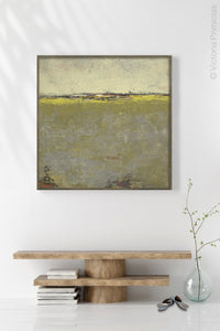 "Impressionist abstract landscape art ""Vernal Passage,"" wall art print by Victoria Primicias, decorates the entryway."