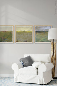"Impressionist abstract landscape art ""Vernal Passage,"" wall art print by Victoria Primicias, decorates the living room."