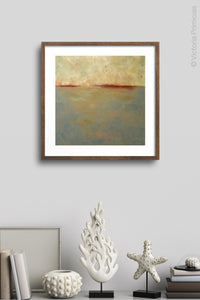 "Zen abstract beach art ""Whispering Waters,"" digital print by Victoria Primicias, decorates the wall."