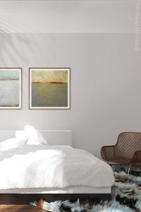 "Zen abstract beach art ""Whispering Waters,"" digital print by Victoria Primicias, decorates the bedroom."