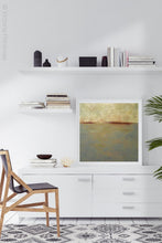 "Load image into Gallery viewer, Minimalist abstract ocean art ""Whispering Waters,"" fine art print by Victoria Primicias, decorates the office."