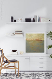 "Minimalist abstract ocean art ""Whispering Waters,"" fine art print by Victoria Primicias, decorates the office."