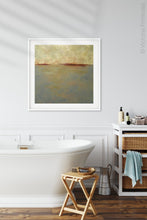 "Load image into Gallery viewer, Minimalist abstract seascape painting ""Whispering Waters,"" canvas wall art by Victoria Primicias, decorates the bathroom."
