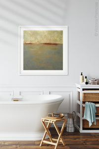 "Minimalist abstract seascape painting ""Whispering Waters,"" canvas wall art by Victoria Primicias, decorates the bathroom."