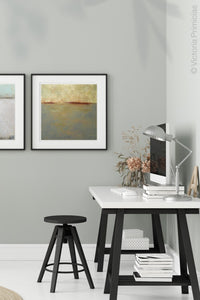 "Minimalist abstract seascape painting ""Whispering Waters,"" canvas wall art by Victoria Primicias, decorates the office."