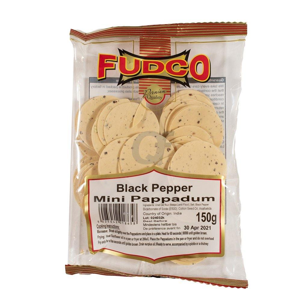 Fudco Mini Black Pepper Poppadom 150g