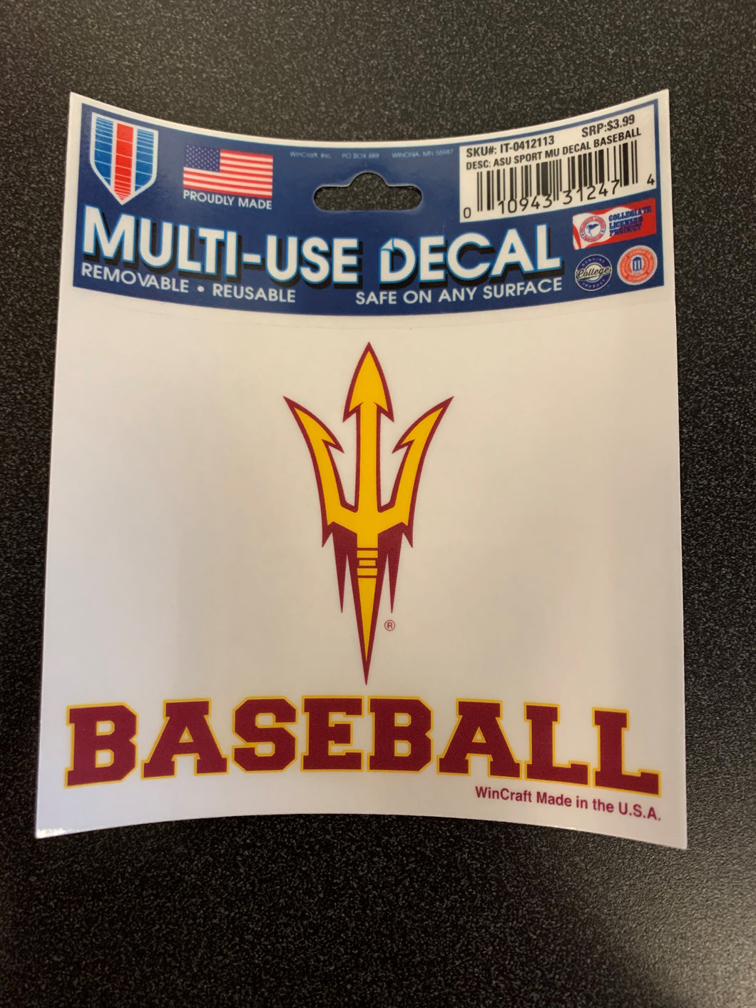 Arizona State University Sport MU Decal Baseball
