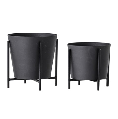 Flowerpot Black Metal 2er-Set