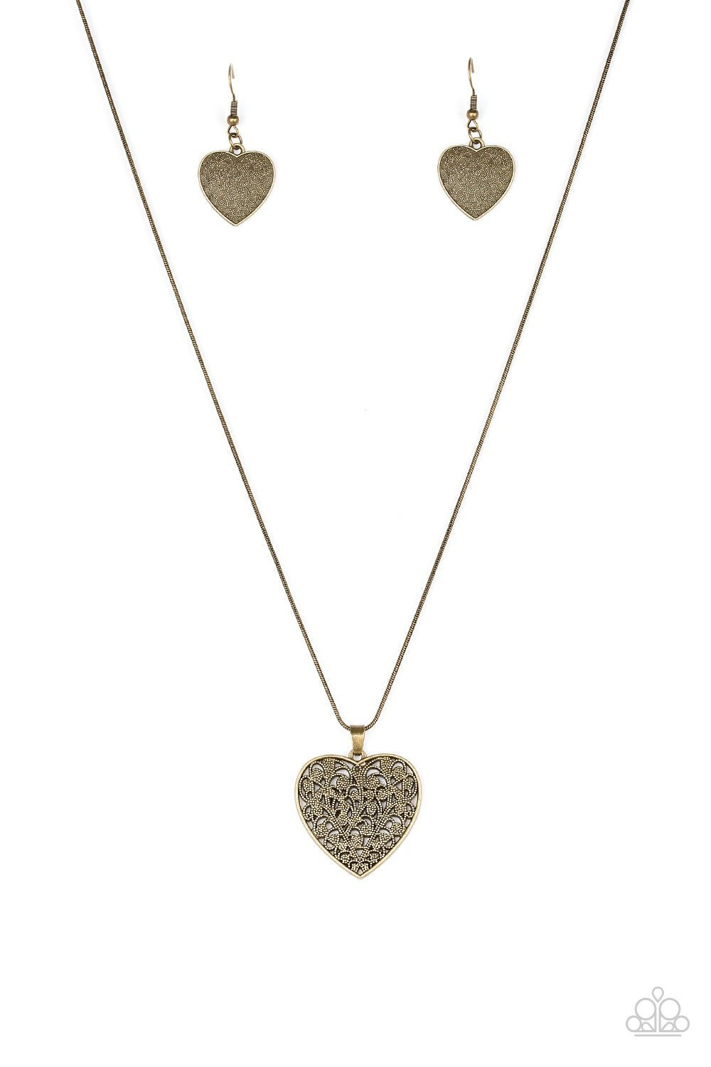 Look Into Your Heart Brass Necklace