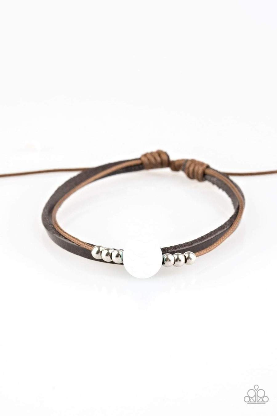 White Stone Center Brown Leather Bracelet