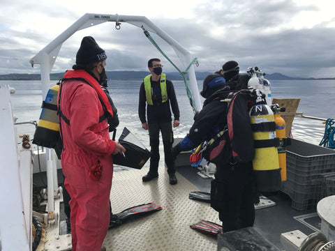 Scientists preparing to dive on the Native oyster reef