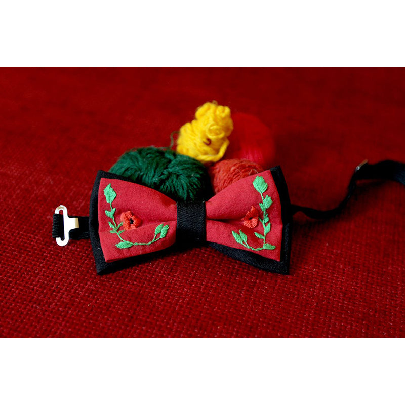 Armenian Bow Tie With Embroidered Flowers