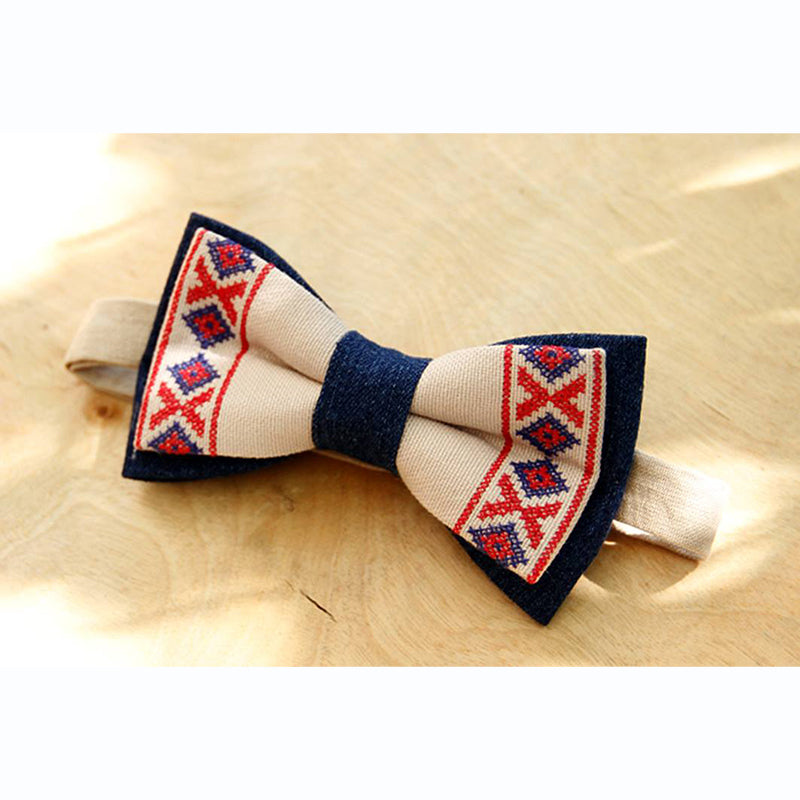 Armenian Embroidered Bow Tie - Blue
