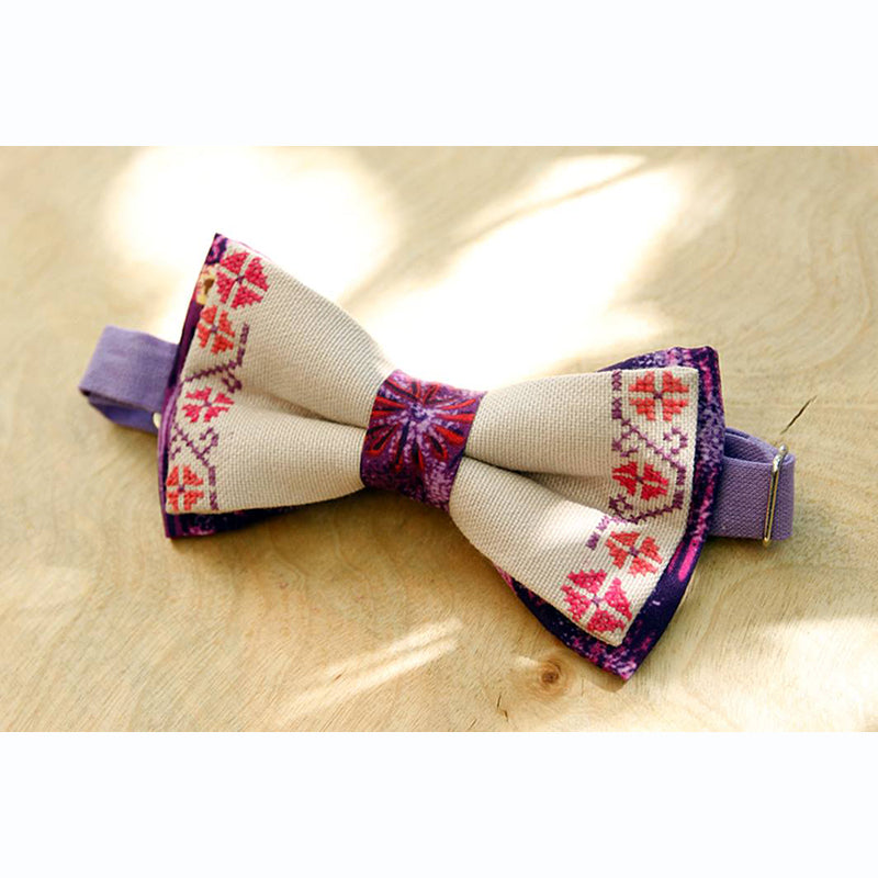 Armenian Embroidered Bow Tie - Purple