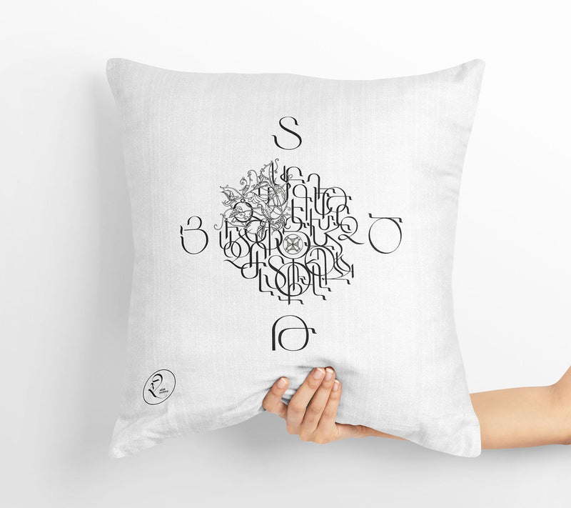 Armenian Letters Pillow - Yerkatagir - White