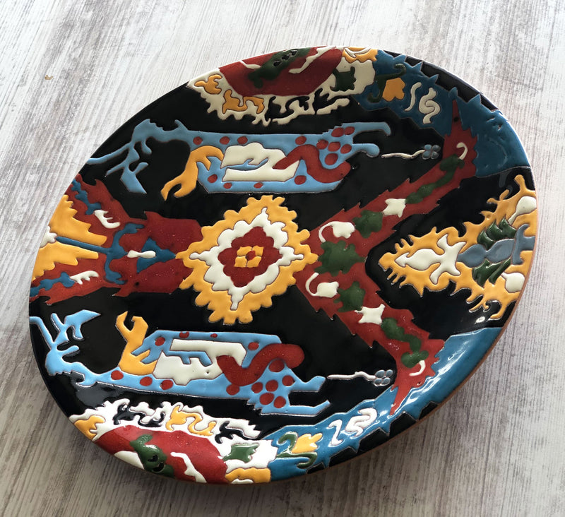 Ceramic Plate with Armenian Carpet Ornaments - Dragon