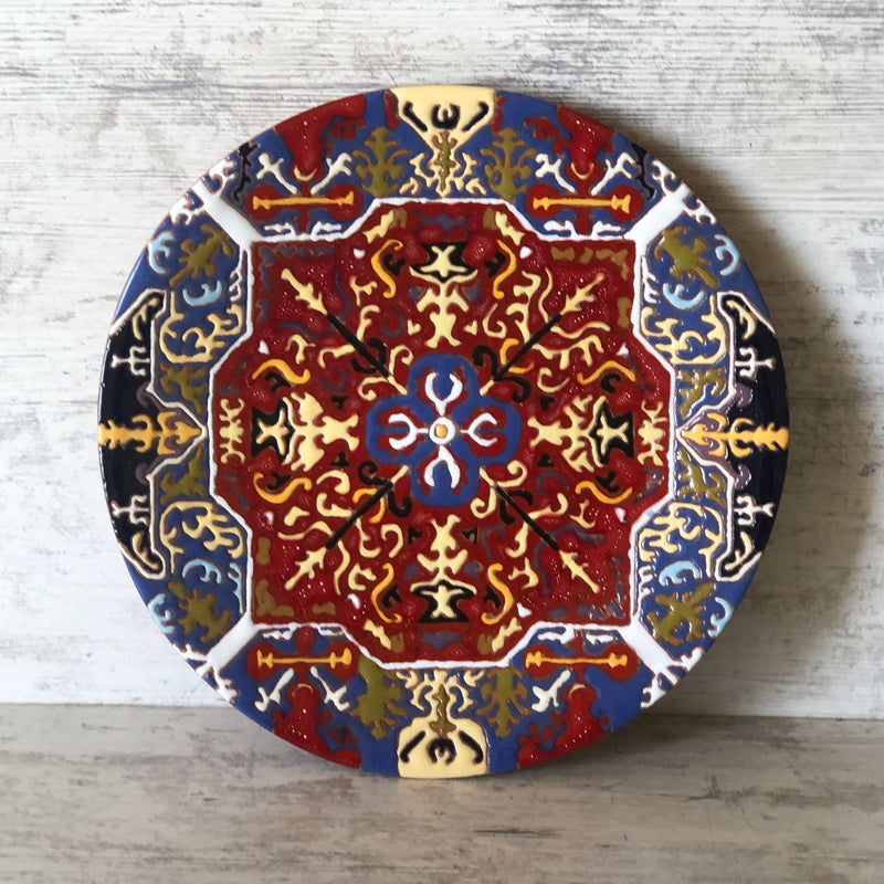 Ceramic Plate with Armenian Carpet Ornaments - Artsakh