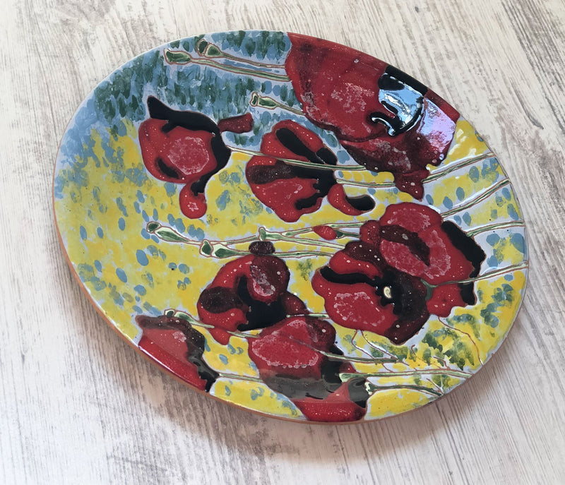 Ceramic Plate - Red Poppies