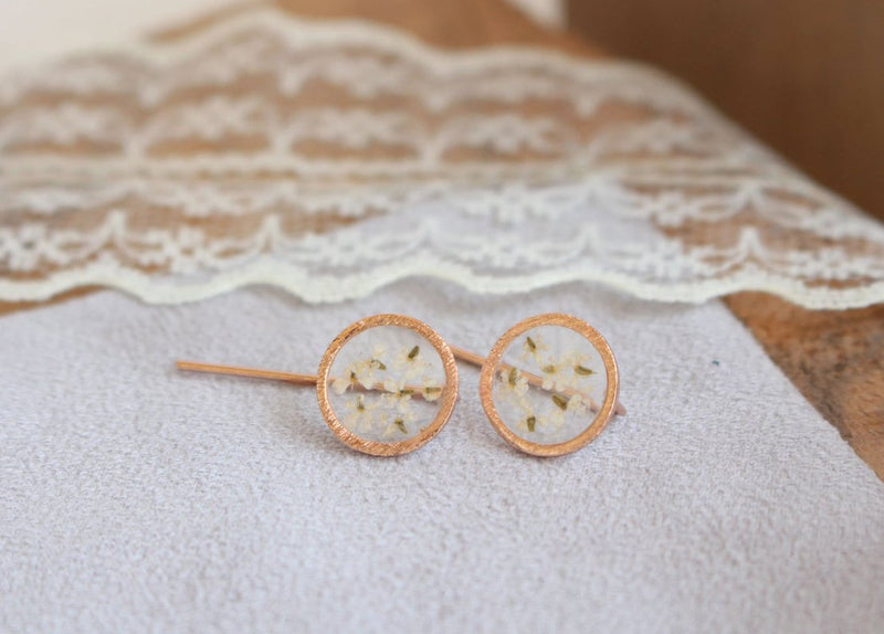 Dried Flower Earrings - Queen Anne's Lace
