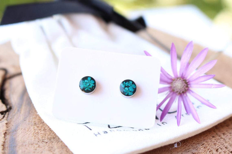 Pressed Flower Stud Earrings