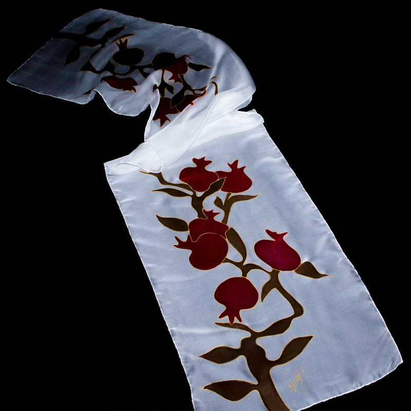 "Armenian Batik Scarf ""Pomegranate Tree"""