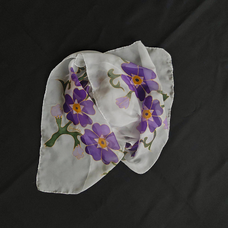 Forget-Me-Not Handmade Silk Scarf