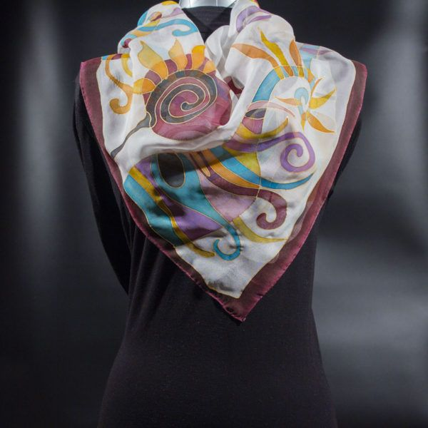 Abstract Ornaments Silk Scarf