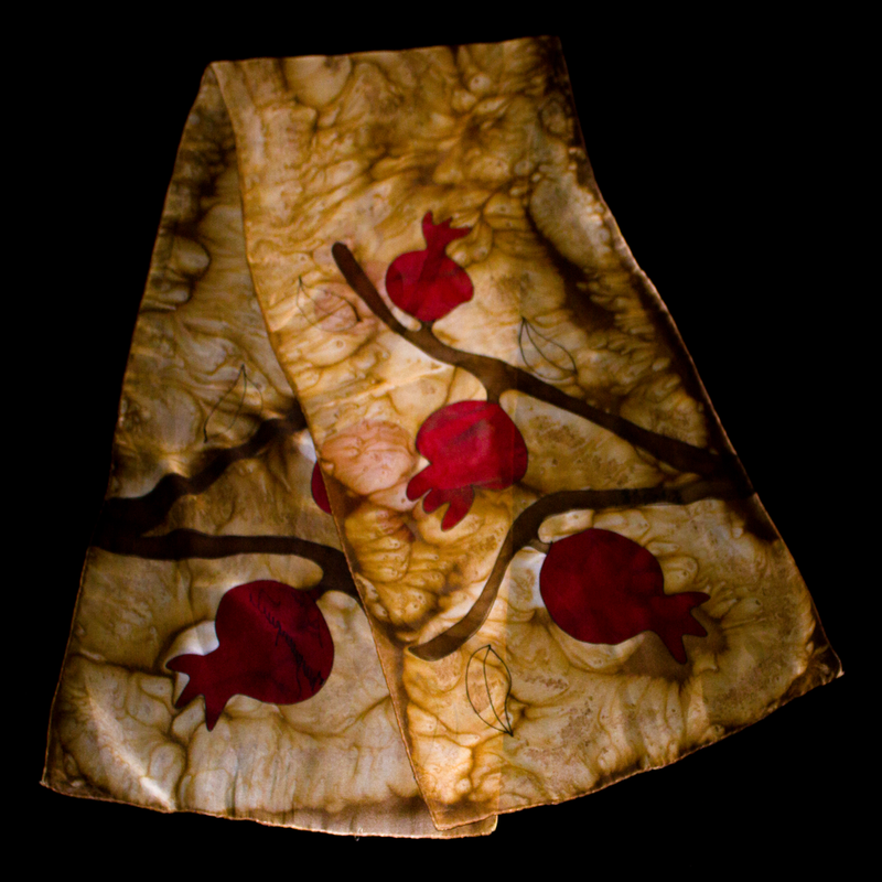 Armenian Handmade Silk Scarf with Pomegranates